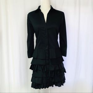 BCBG Maxazria Black Layered Tiered Button Up Dress